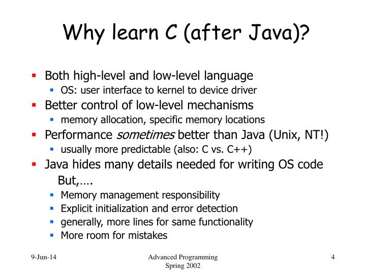 Why learn C (after Java)?