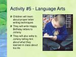activity 5 language arts