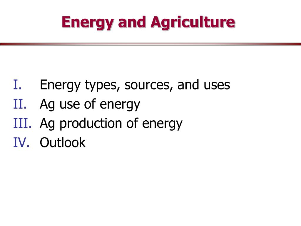 energy and agriculture l.