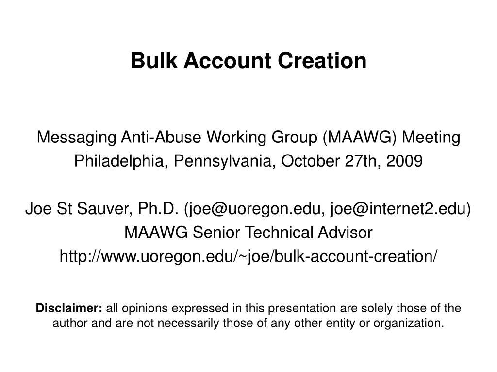 bulk account creation l.