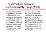 the immediate appeal of compositionality frege 1923