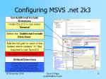 configuring msvs net 2k34