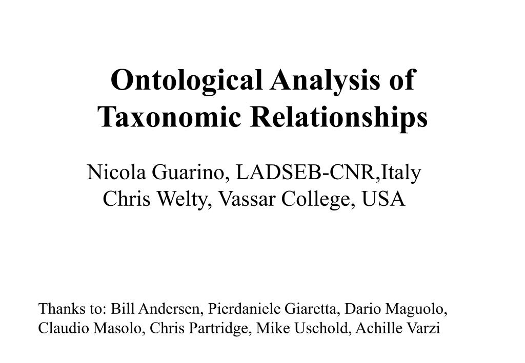 ontological analysis of taxonomic relationships l.