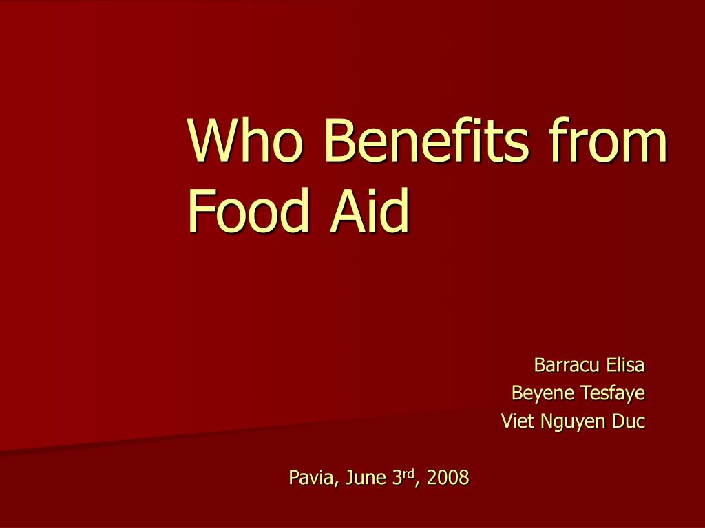 who benefits from food aid l.