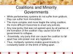 coalitions and minority governments12