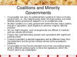 coalitions and minority governments13