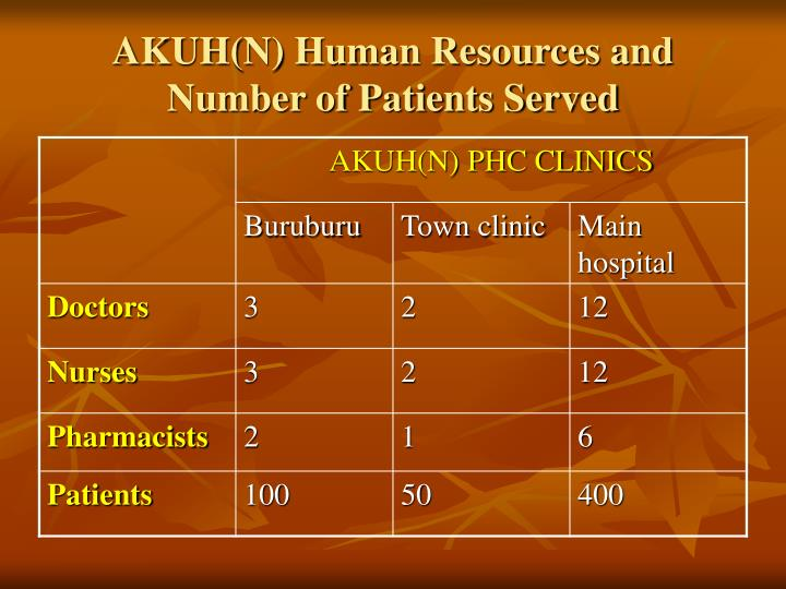 Akuh n human resources and number of patients served