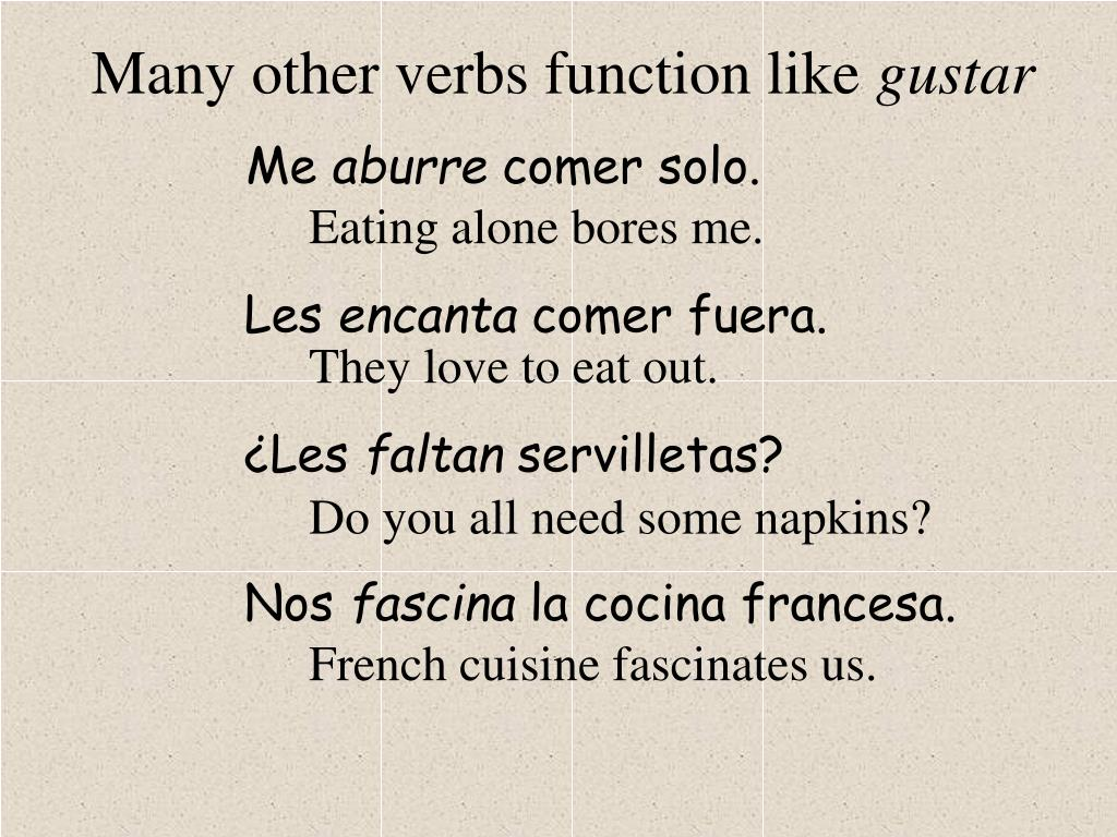 Many other verbs function like