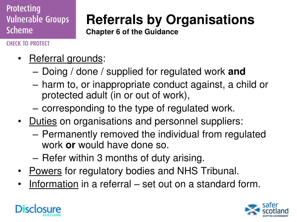 Referrals by Organisations
