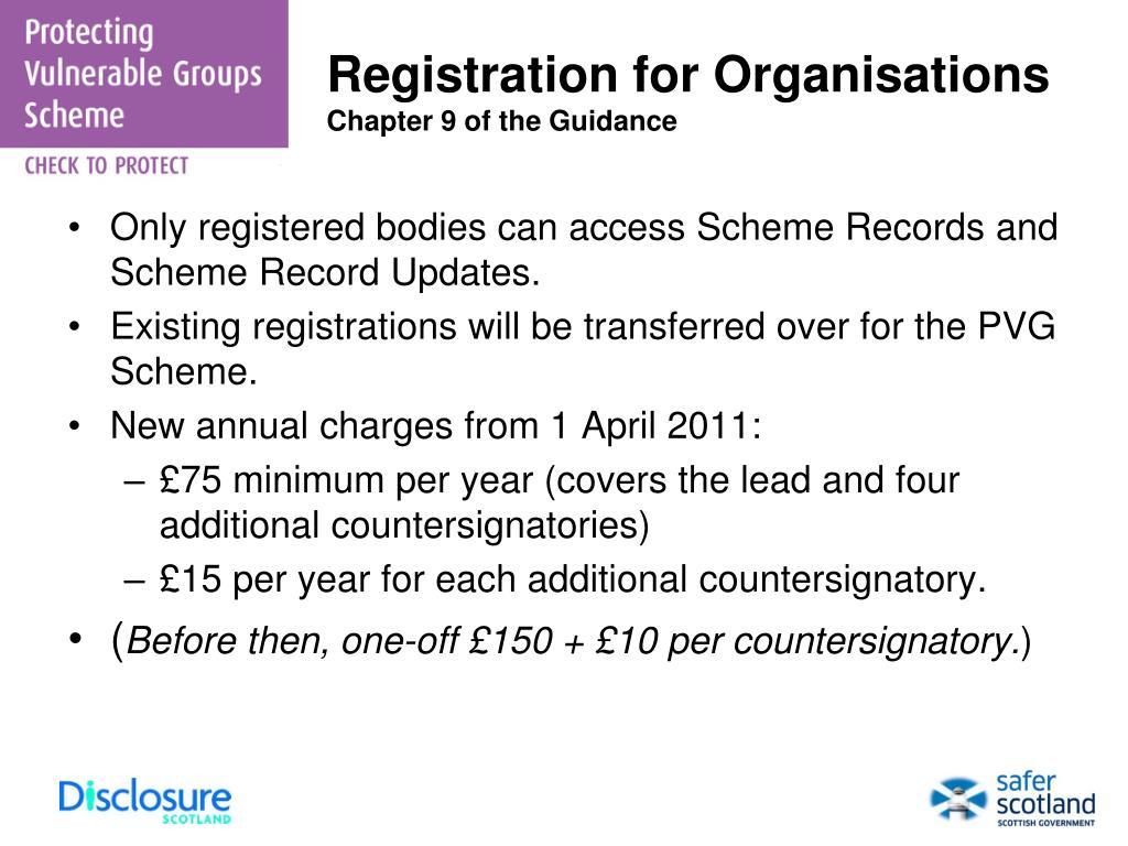 Registration for Organisations