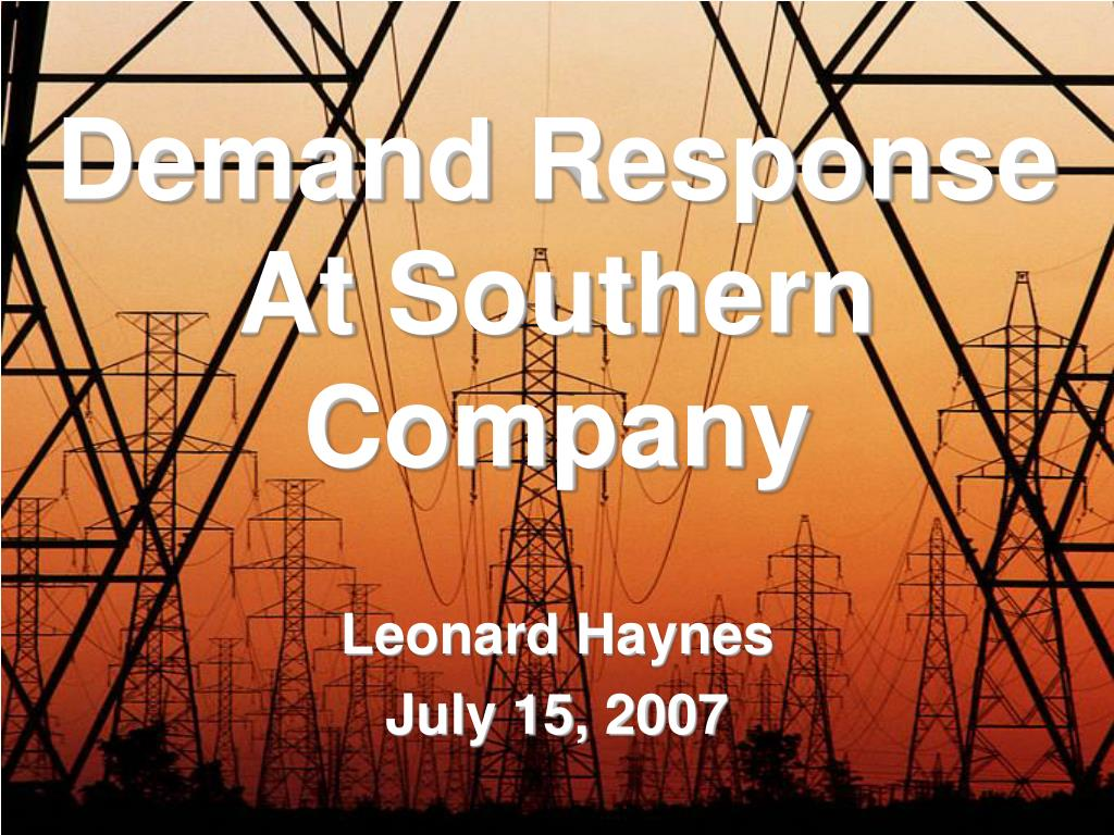 Demand Response At Southern Company