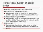 three ideal types of social order