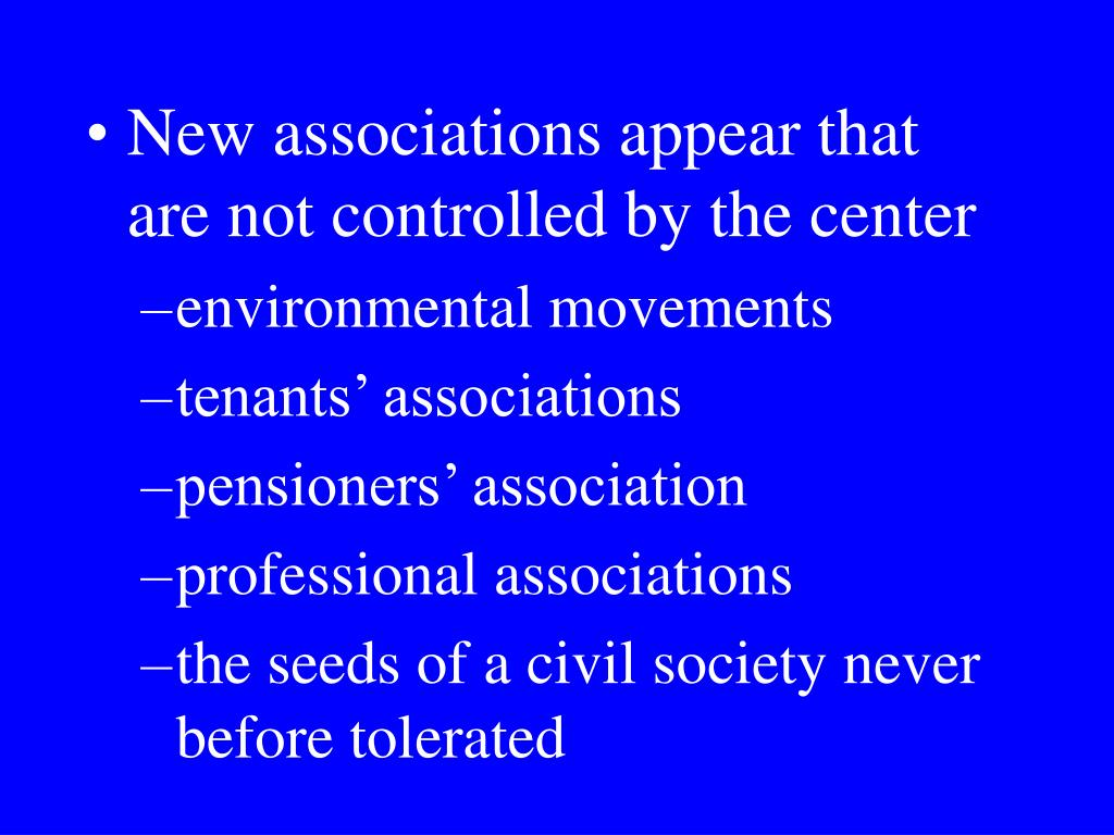New associations appear that are not controlled by the center