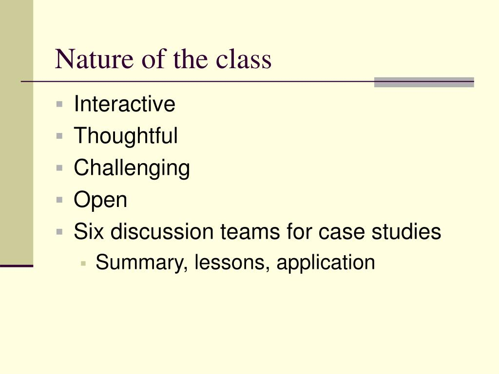 Nature of the class