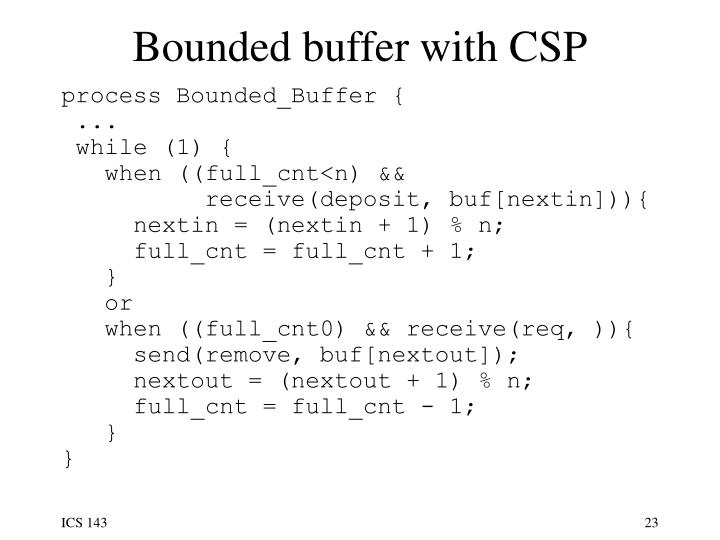 Bounded buffer with CSP