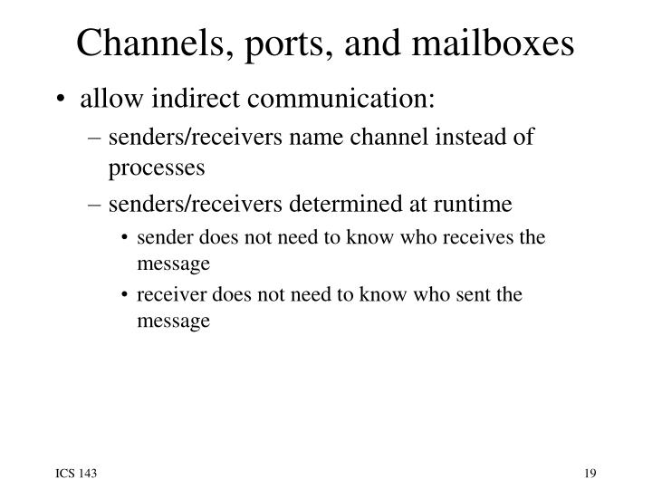 Channels, ports, and mailboxes