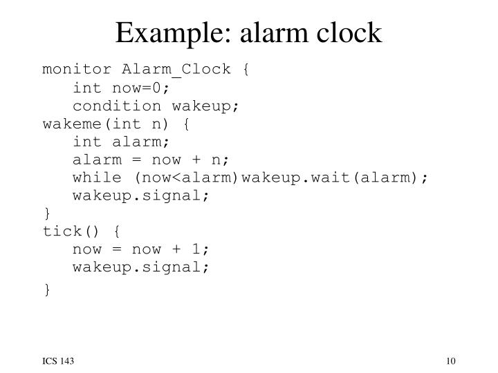 Example: alarm clock