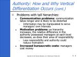 authority how and why vertical differentiation occurs cont8