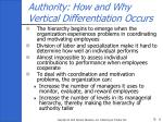 authority how and why vertical differentiation occurs