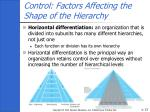 control factors affecting the shape of the hierarchy