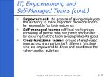 it empowerment and self managed teams cont