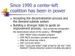 since 1990 a center left coalition has been in power