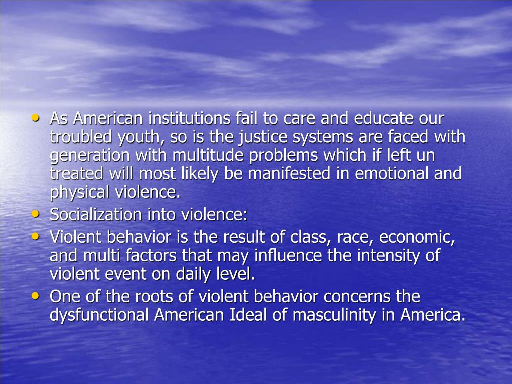 As American institutions fail to care and educate our troubled youth, so is the justice systems are faced with generation with multitude problems which if left un treated will most likely be manifested in emotional and physical violence.