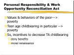 personal responsibility work opportunity reconciliation act