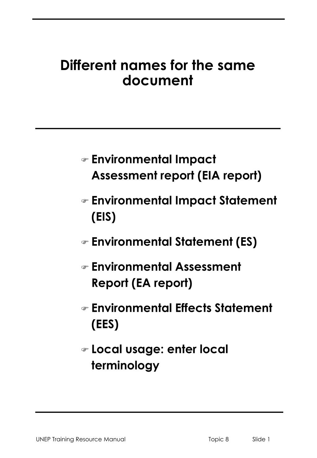 different names for the same document l.