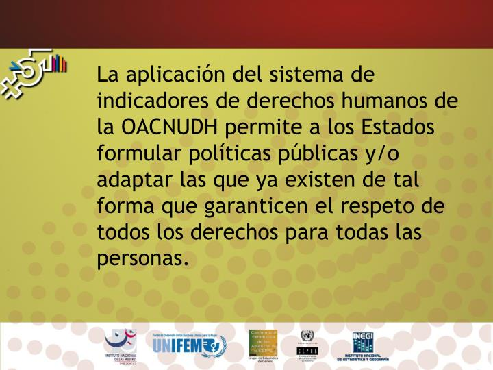 La aplicación del sistema de indicadores de derechos humanos de la OACNUDH permite a los Estados f...