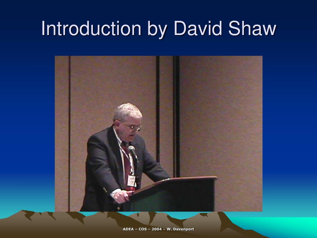 introduction by david shaw l.