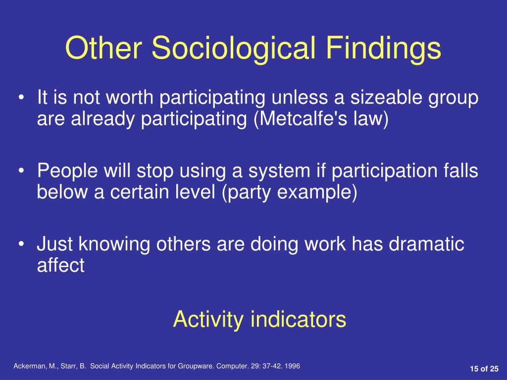 Other Sociological Findings