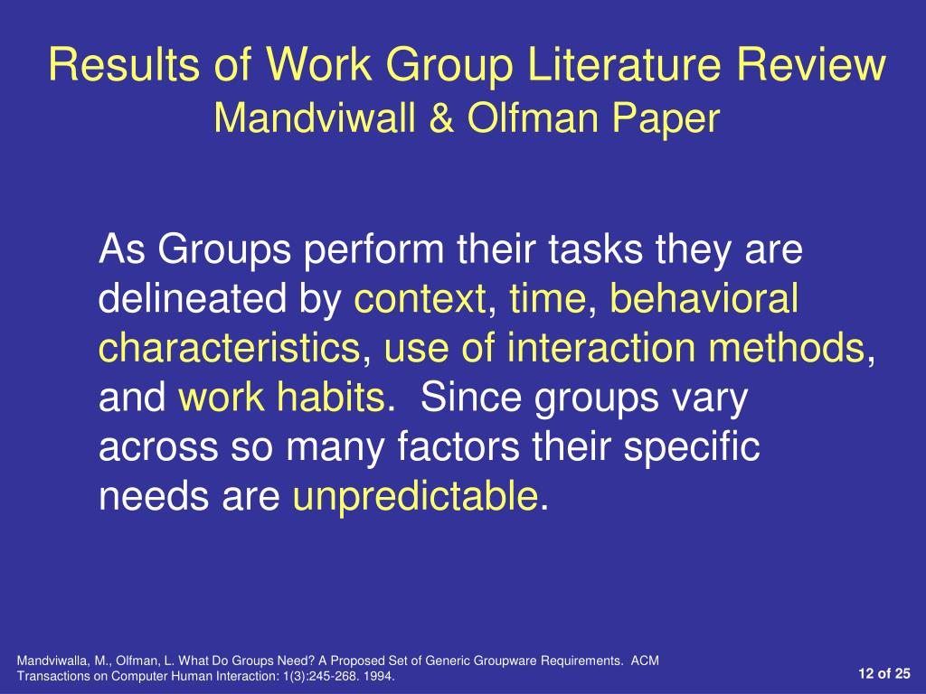 Results of Work Group Literature Review