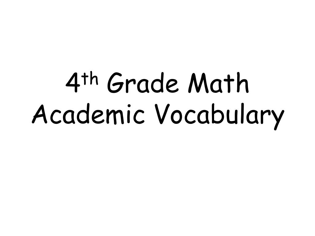4 th grade math academic vocabulary l.