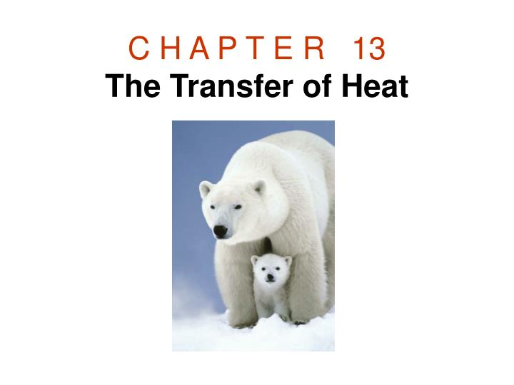 c h a p t e r 13 the transfer of heat n.