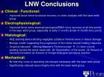 lnw conclusions