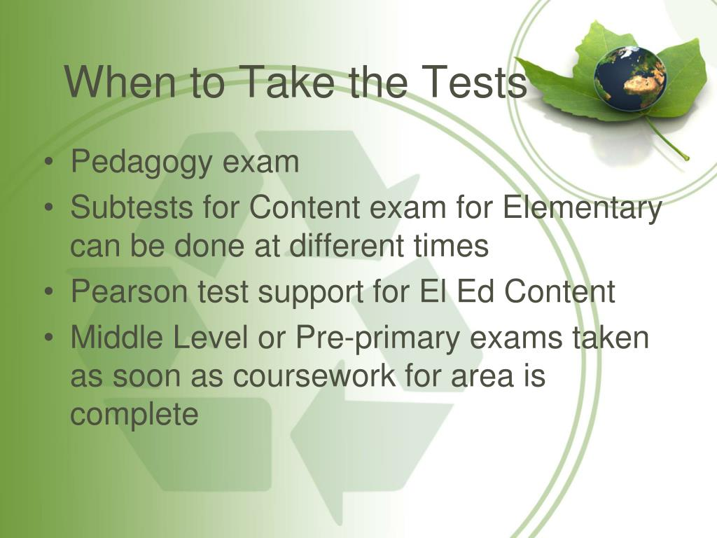 When to Take the Tests