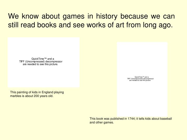 Books About What Games People Played Long Ago Kids