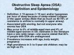 obstructive sleep apnea osa definition and epidemiology