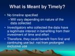 what is meant by timely