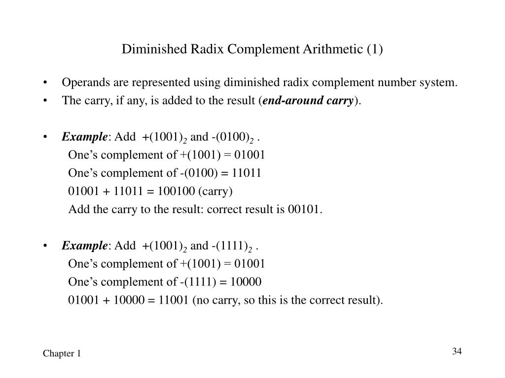 Diminished Radix Complement Arithmetic (1)