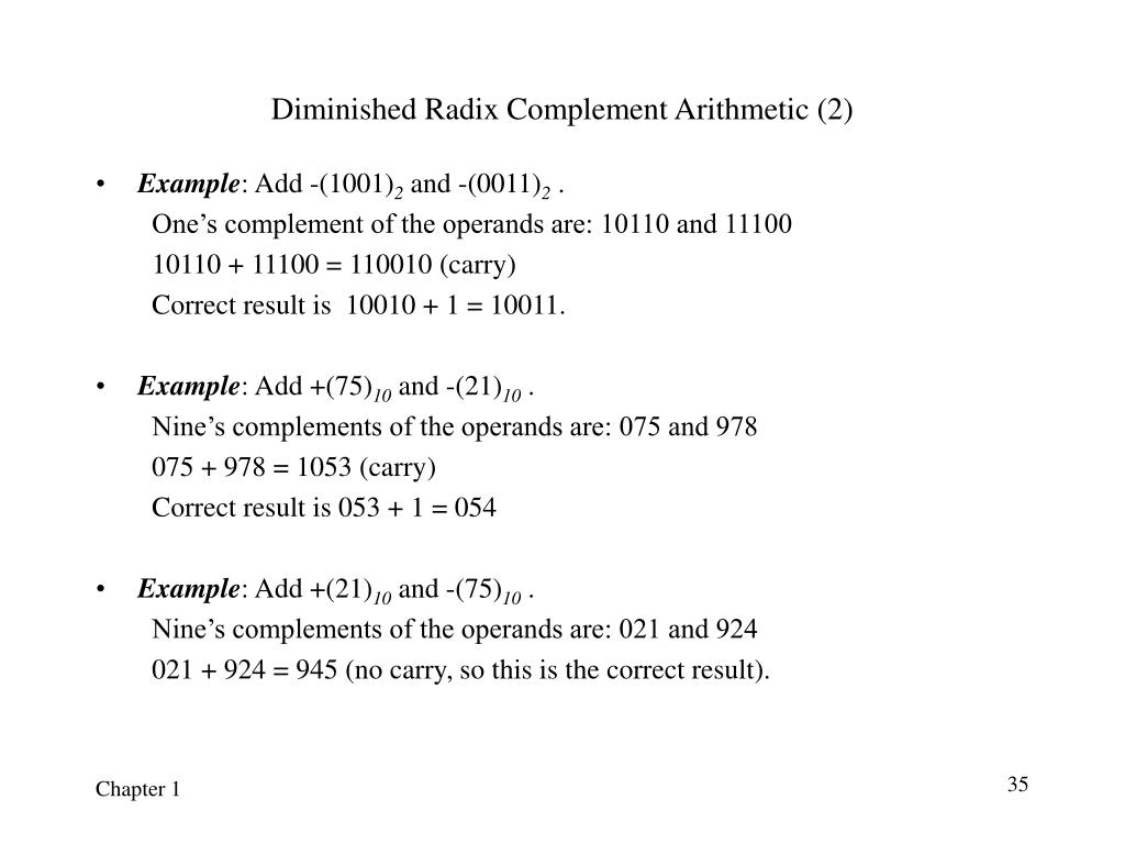 Diminished Radix Complement Arithmetic (2)