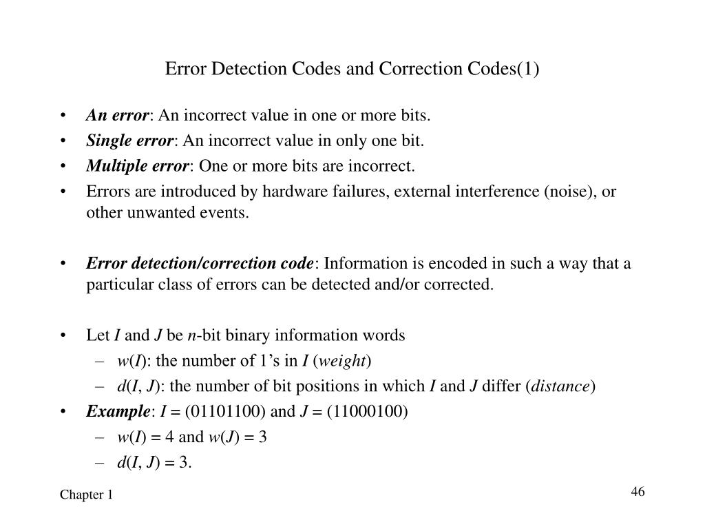 Error Detection Codes and Correction Codes(1)