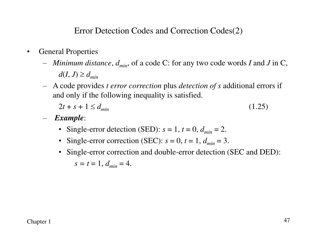 Error Detection Codes and Correction Codes(2)