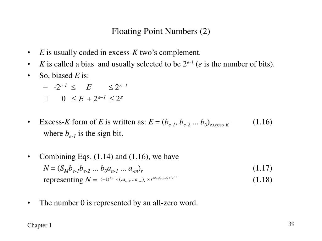 Floating Point Numbers (2)
