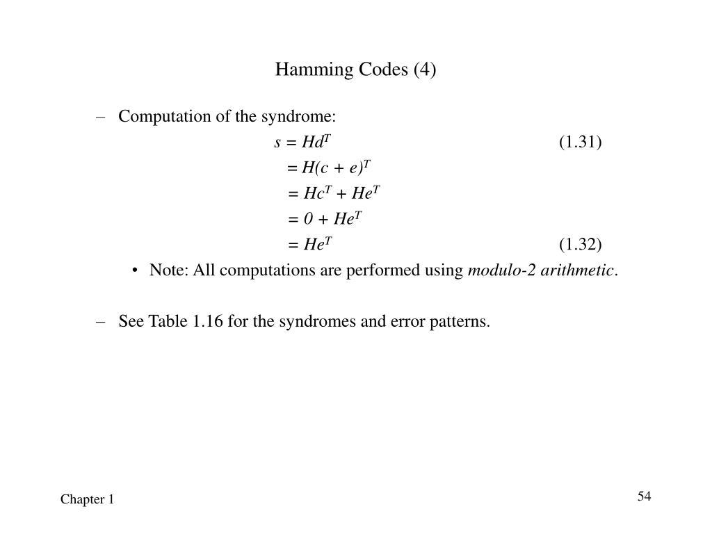 Hamming Codes (4)