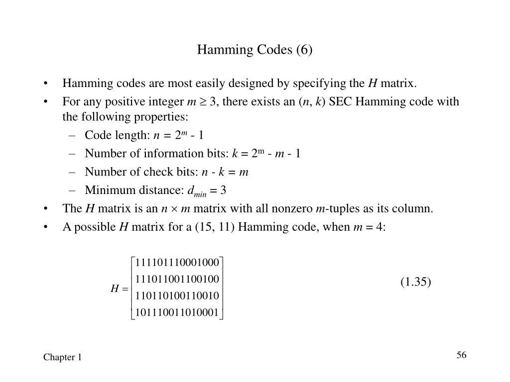 Hamming Codes (6)