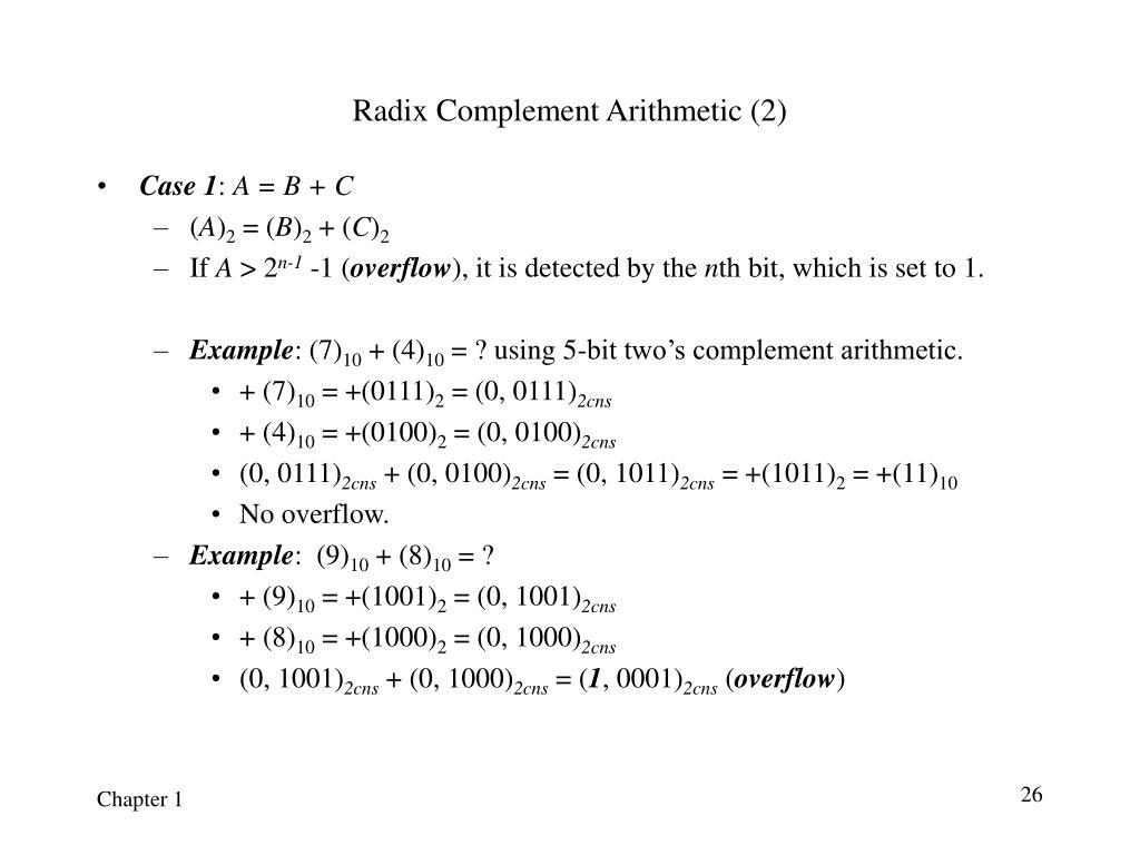 Radix Complement Arithmetic (2)
