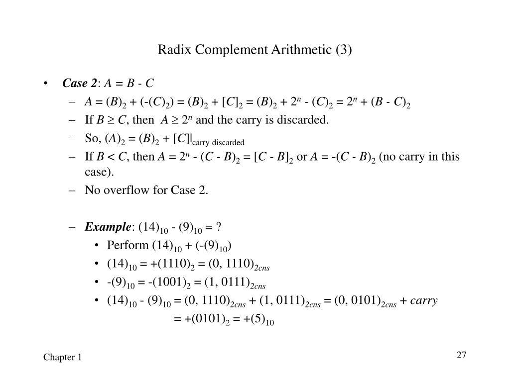 Radix Complement Arithmetic (3)