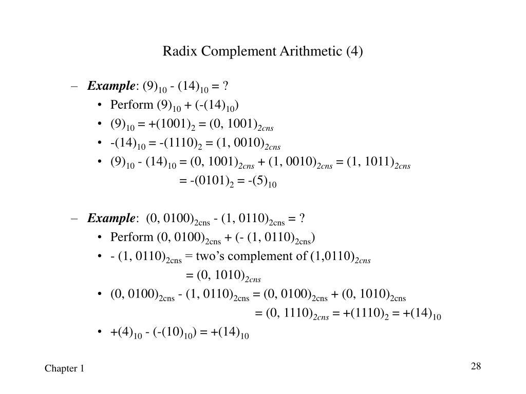 Radix Complement Arithmetic (4)